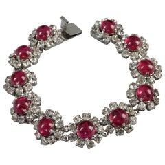 Vintage 1973 CHRISTIAN DIOR Red Glass Cabochon Rhinestone Bracelet