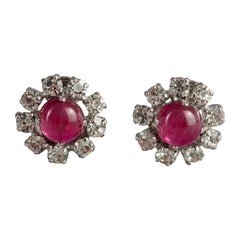 Vintage 1973 CHRISTIAN DIOR Red Glass Cabochon Rhinestone Earrings
