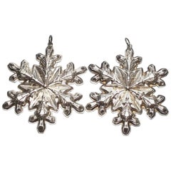 Vintage 1973 Gorham Sterling Silver Two Snowflake Christmas Ornaments
