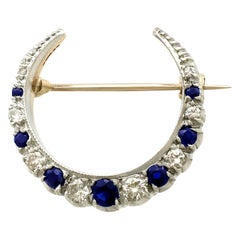 Vintage 1973 Hallmarked Sapphire and Diamond Yellow Gold Crescent Brooch