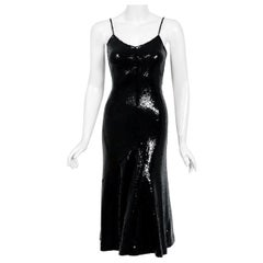 Vintage 1973 Halston Black Sequin Silk Jersey Bias-Cut Hourglass Mermaid Dress