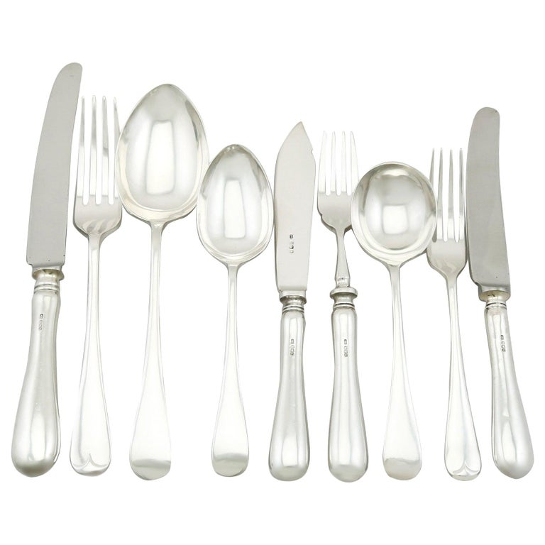 Vintage 1973 Sterling Silver Canteen of Cutlery for Six Persons For Sale