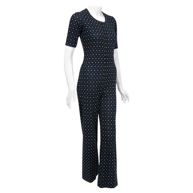Vintage 1973 Yves Saint Laurent Rive Gauche Dotted Wool Knit Zip-Up Jumpsuit For Sale