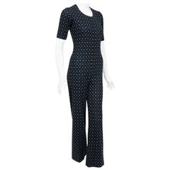 Vintage 1973 Yves Saint Laurent Rive Gauche Dotted Wool Knit Zip-Up Jumpsuit