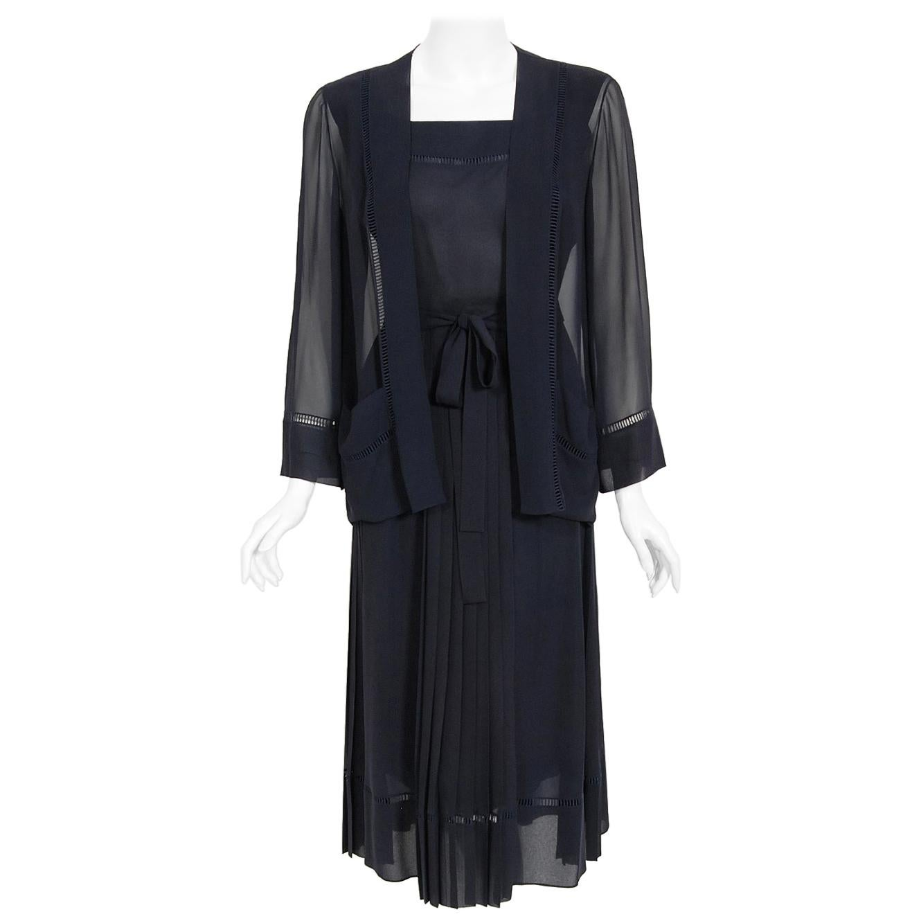 Vintage 1974 Christian Dior Haute Couture Navy Pleated Silk Cutwork Dress Set
