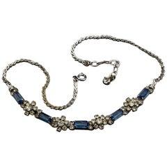 Vintage 1974 CHRISTIAN DIOR Sapphire Rhinestone Necklace