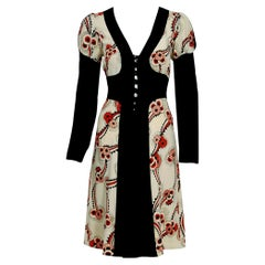 Vintage 1974 Ossie Clark Red Floral Celia Birtwell Print Crepe Block Color Dress