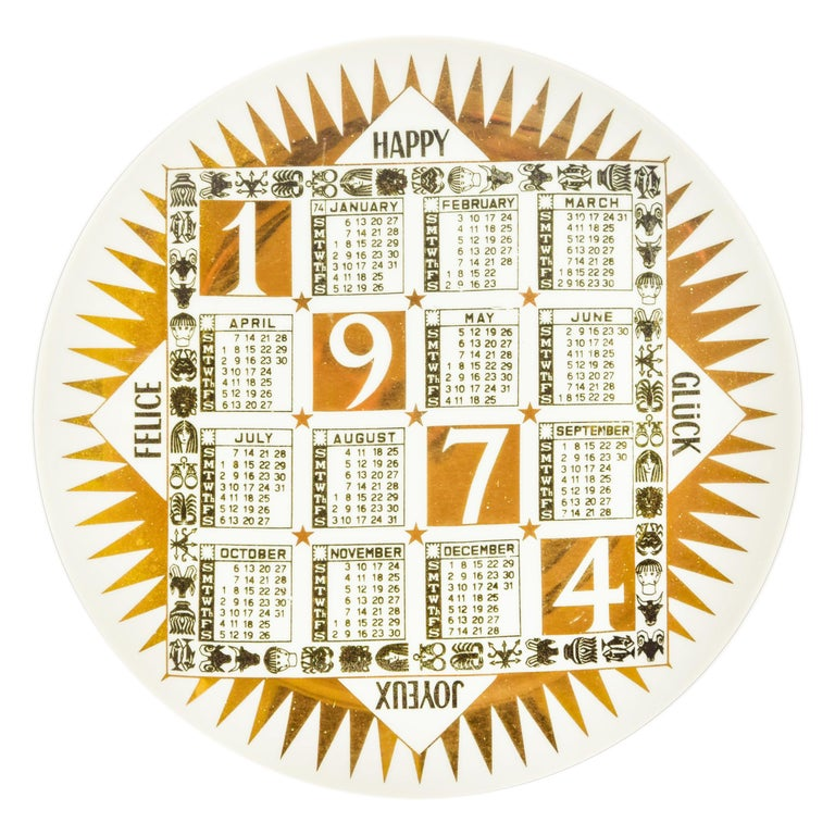 "Vintage ""1974"" Plate, Calendario 'Calendar Series' by Piero Fornasetti, 1974 For Sale"
