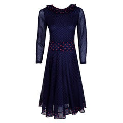 Vintage 1974 Thea Porter Navy & Pink Dotted Print Cotton Voile Long-Sleeve Dress