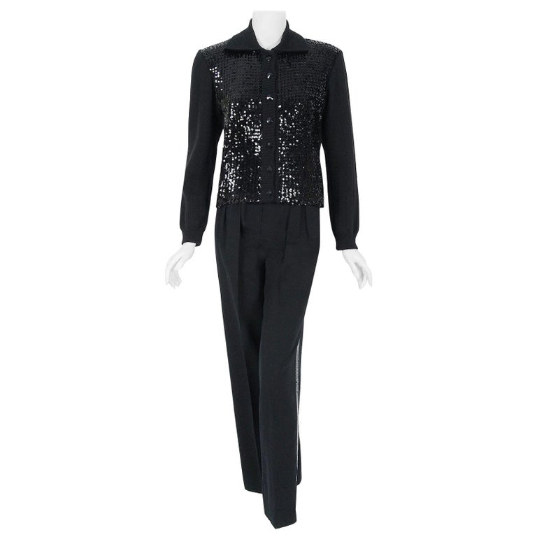 Vintage 1974 Yves Saint Laurent Sequin Black Wool Sweater Le Smoking Pants Suit For Sale