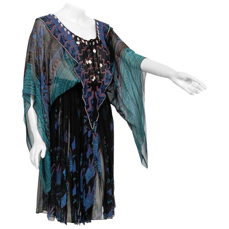 Vintage 1974 Zandra Rhodes Field Of Lilies Hand-Painted Silk Angel Sleeve Dress For Sale