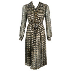 Vintage 1975 Chanel Haute-Couture Metallic Pleated Graphic Silk Belted Dress