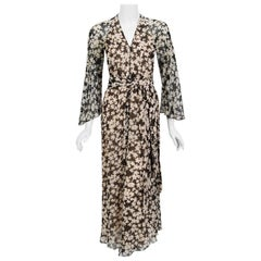 Vintage 1975 Halston Couture Black and Ivory Clover Print Silk Belted Jumpsuit