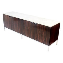 Vintage 1975 Midcentury Marble-Top Rosewood Credenza Console by Florence Knoll