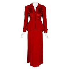 Vintage 1975 Ossie Clark Red Moss-Crepe & Satin Deco Peplum Jacket w/ Maxi Skirt