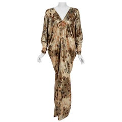 Vintage 1975 Yves Saint Laurent Haute-Couture Documented Metallic Lamé Caftan