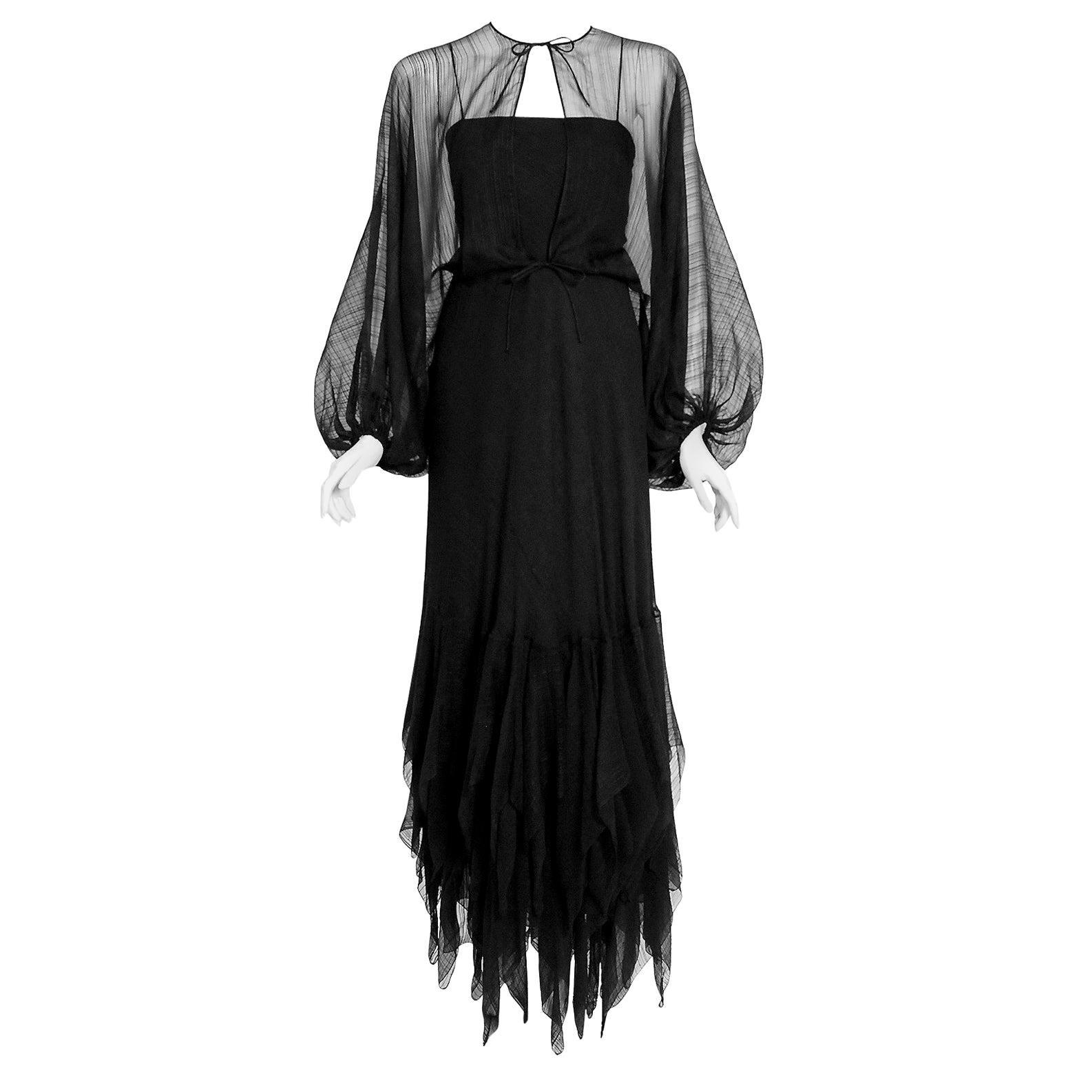 Vintage 1976 Stavropoulos Black Sheer Silk Carwash Gown & Billow-Sleeve Jacket