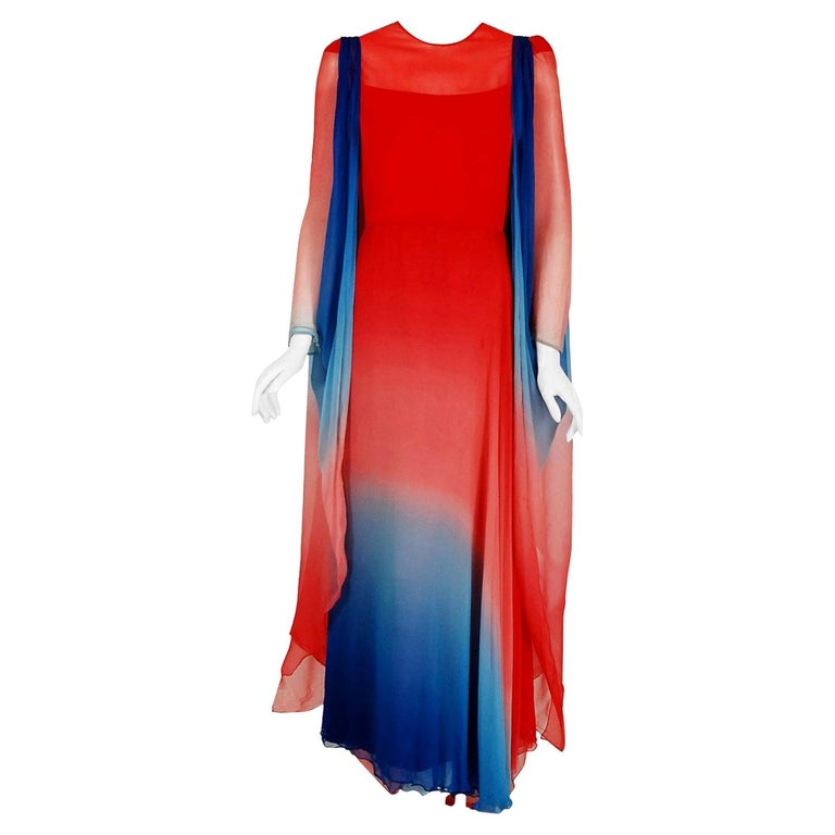 Vintage 1977 Arnold Scaasi Couture Ombre Silk Chiffon Illusion Gown & Vest Cape For Sale