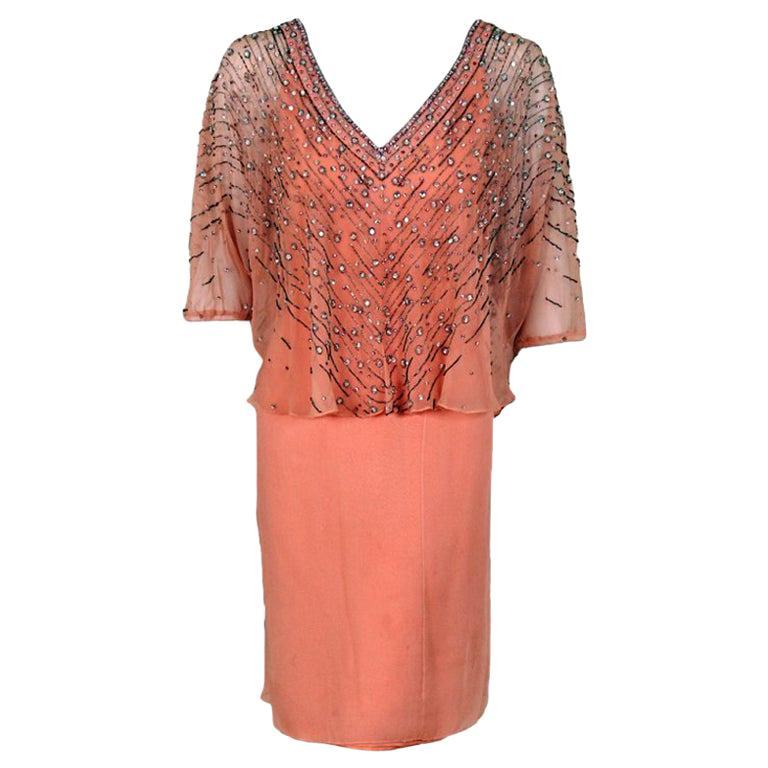 Vintage 1977 Christian Dior Haute Couture Beaded Sequin Peach Silk Capelet Dress For Sale