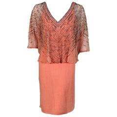 Vintage 1977 Christian Dior Haute Couture Beaded Sequin Peach Silk Capelet Dress