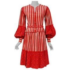 Vintage 1977 Emanuel Ungaro Haute Couture Red Floral Stripe Silk Blouse & Skirt