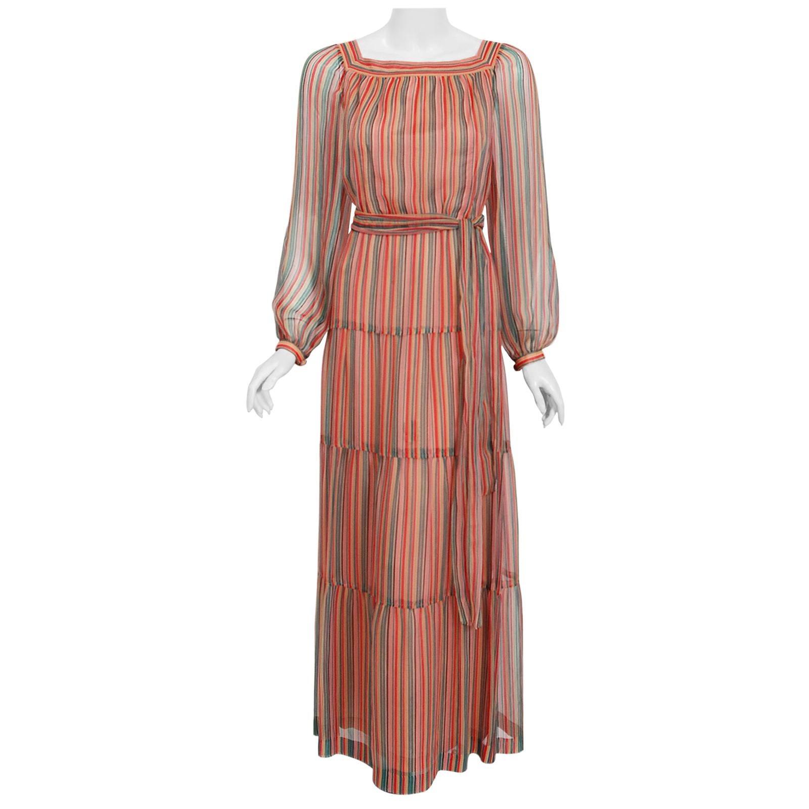 Vintage 1977 Givenchy Colorful Stripe Silk-Chiffon Billow Sleeve Bohemian Dress