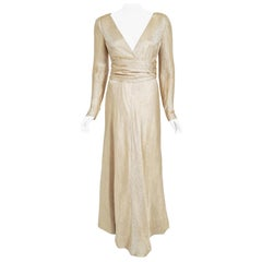 Vintage 1977 Givenchy Haute Couture Metallic Gold Silk Long-Sleeve Plunge Gown
