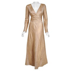 Vintage 1977 Givenchy Haute-Couture Metallic Gold Silk Long-Sleeve Plunge Gown