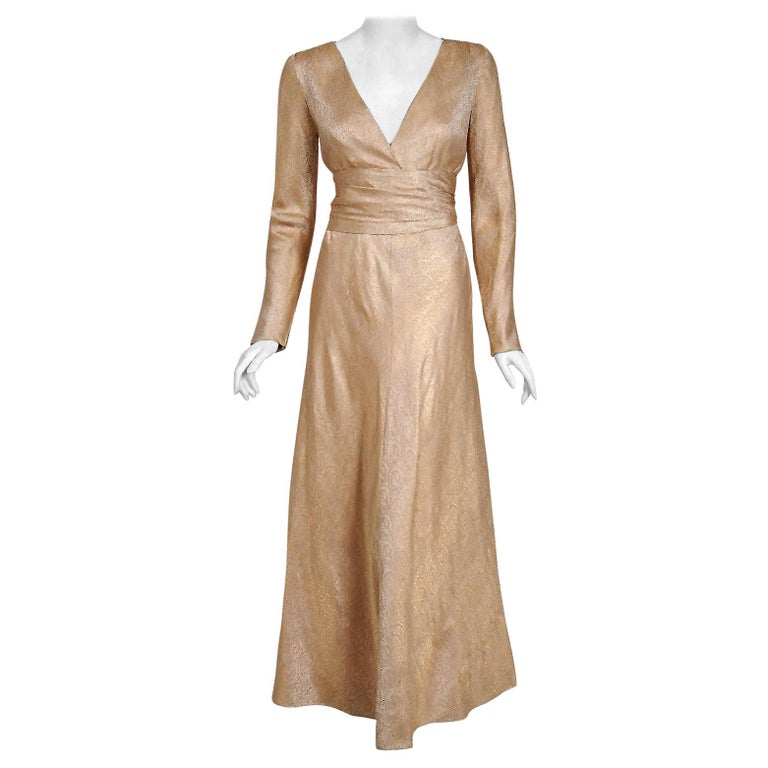 Vintage 1977 Givenchy Haute-Couture Metallic Gold Silk Long-Sleeve Plunge Gown For Sale