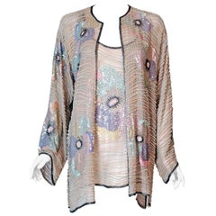 Vintage 1977 Halston Couture Beaded Pastel Floral Silk Blouse and Kimono Jacket