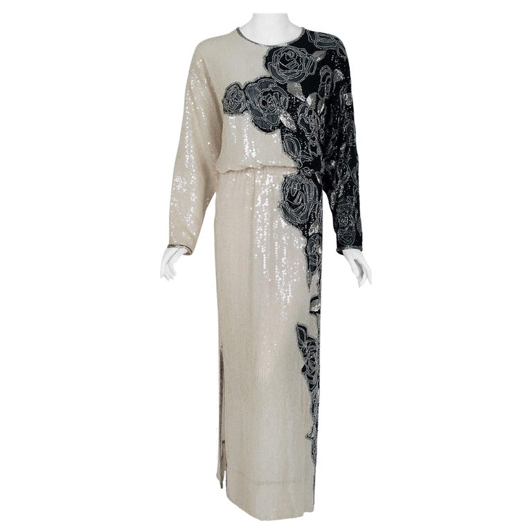 Vintage 1977 Halston Couture Beaded Sequin Rose-Garden Silk Dolman Sleeve Gown For Sale