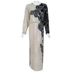 Vintage 1977 Halston Couture Beaded Sequin Rose-Garden Silk Dolman Sleeve Gown