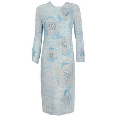 Vintage 1977 Halston Couture Blue Beaded Floral Silk Crepe Long-Sleeve Dress