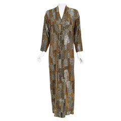 Vintage 1977 Halston Couture Gold Silver Beaded Silk Full-Length Dress Jacket