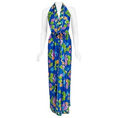 Vintage 1977 Oscar de la Renta Colorful Graphic Print Halter Backless Maxi Dress