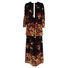 Vintage 1977 Valentino Novelty Acorn Print Velvet Swing Jacket & Maxi Skirt Set