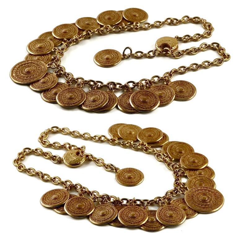 Women's Vintage 1977 YSL Yves Saint Laurent Ethnic Aztec Disc Medallion Charm Necklace For Sale