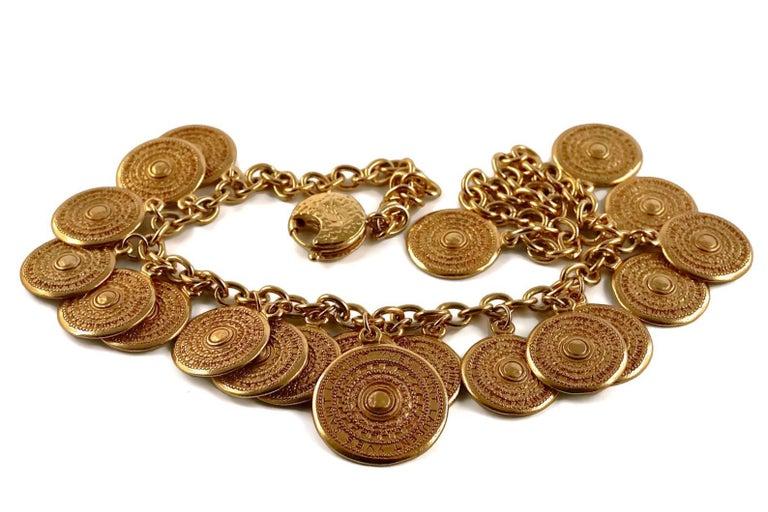 Vintage 1977 YSL Yves Saint Laurent Ethnic Aztec Disc Medallion Charm Necklace For Sale 1