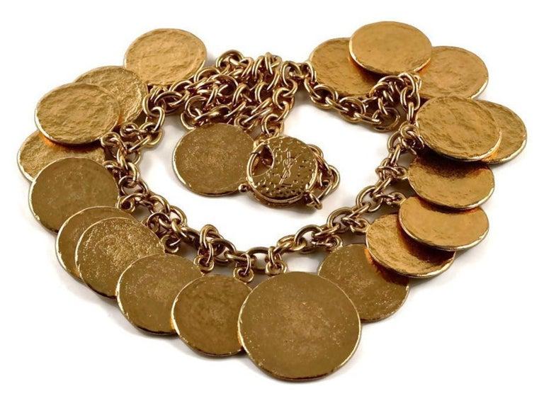 Vintage 1977 YSL Yves Saint Laurent Ethnic Aztec Disc Medallion Charm Necklace For Sale 2