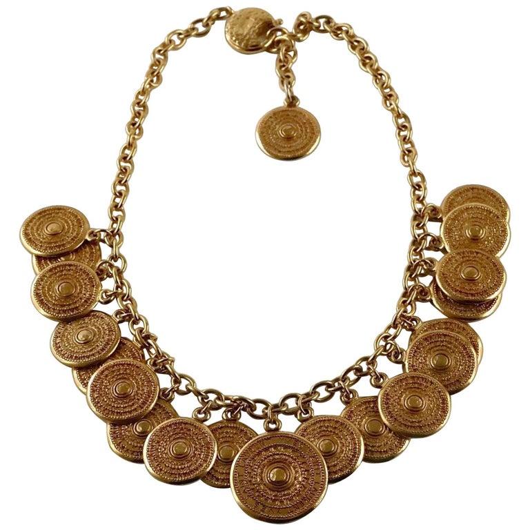 Vintage 1977 YSL Yves Saint Laurent Ethnic Aztec Disc Medallion Charm Necklace For Sale