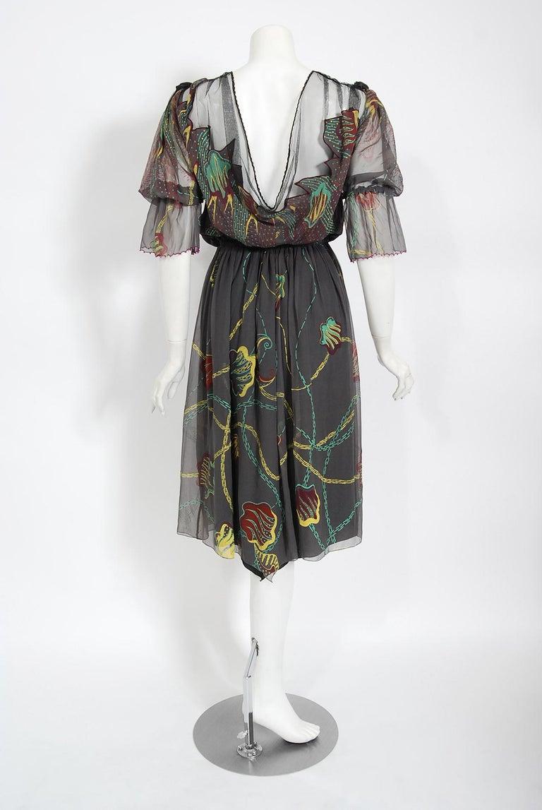 Vintage 1970's Zandra Rhodes Hand-Painted Grey Silk Puff-Sleeve Illusion Dress For Sale 5