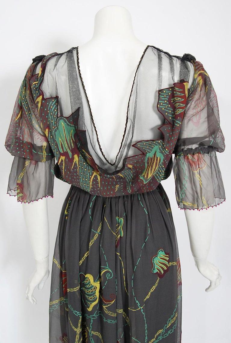 Vintage 1970's Zandra Rhodes Hand-Painted Grey Silk Puff-Sleeve Illusion Dress For Sale 6