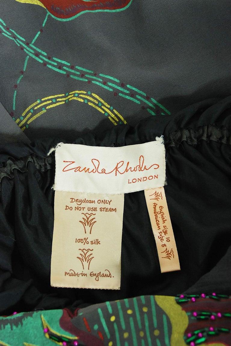 Vintage 1970's Zandra Rhodes Hand-Painted Grey Silk Puff-Sleeve Illusion Dress For Sale 7