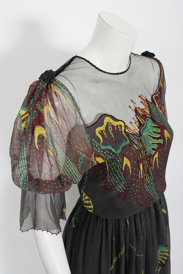 Black Vintage 1970's Zandra Rhodes Hand-Painted Grey Silk Puff-Sleeve Illusion Dress For Sale