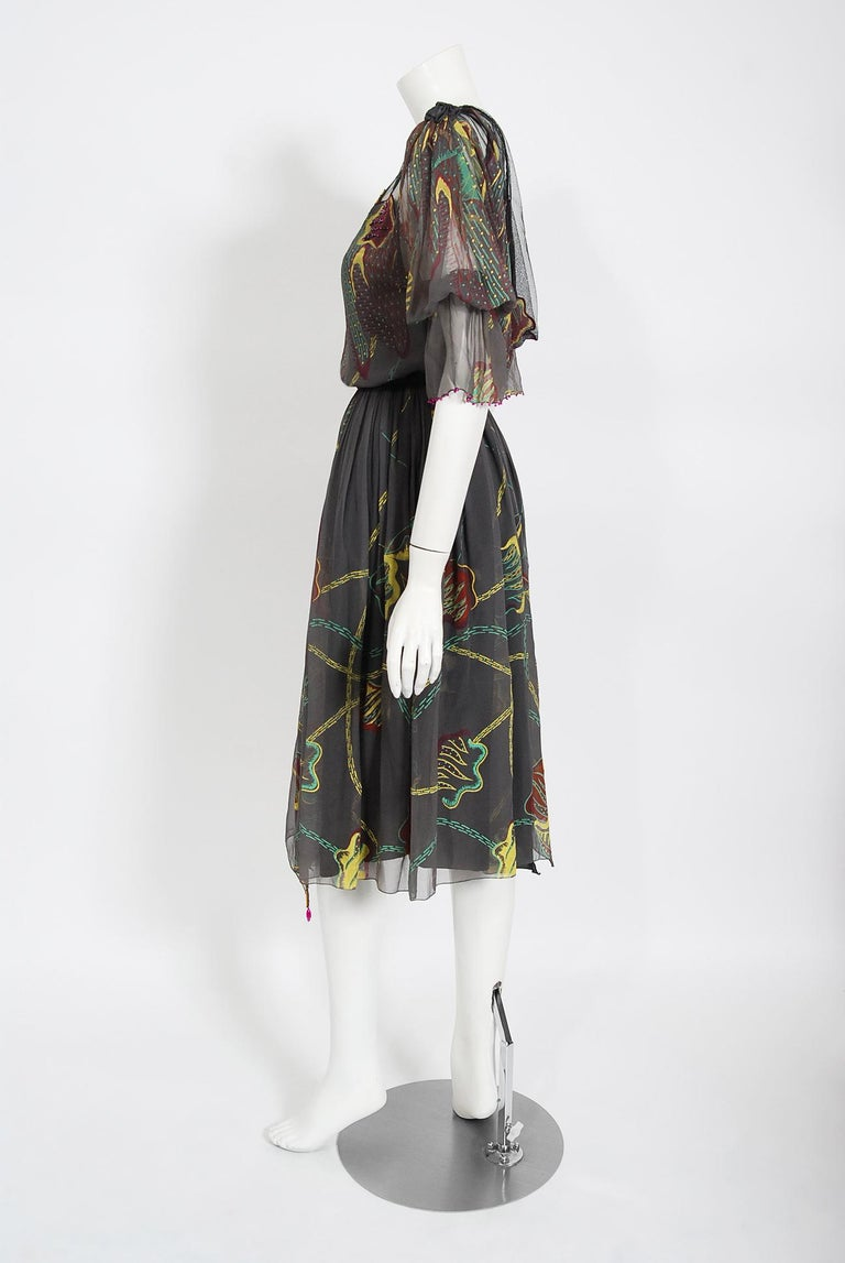 Vintage 1970's Zandra Rhodes Hand-Painted Grey Silk Puff-Sleeve Illusion Dress For Sale 1