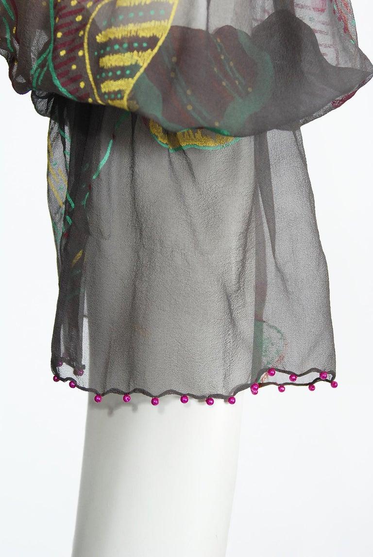 Vintage 1970's Zandra Rhodes Hand-Painted Grey Silk Puff-Sleeve Illusion Dress For Sale 2