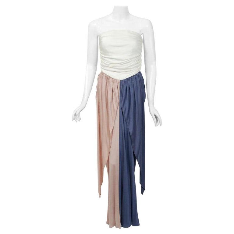 Vintage 1978 Bill Blass Ivory Blush Blue Tri-Color Jersey Strapless Draped Dress For Sale