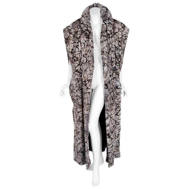 Vintage 1978 Fendi Couture by Karl Lagerfeld Chinchilla Fur Maxi Jacket Vest For Sale