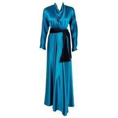 Vintage 1978 Halston Couture Teal Blue Silk Satin Long-Sleeve Belted Wrap Gown