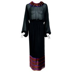 Vintage 1978 Lanvin Couture Black Sheer Silk & Stripe Velvet Billow-Sleeve Gown